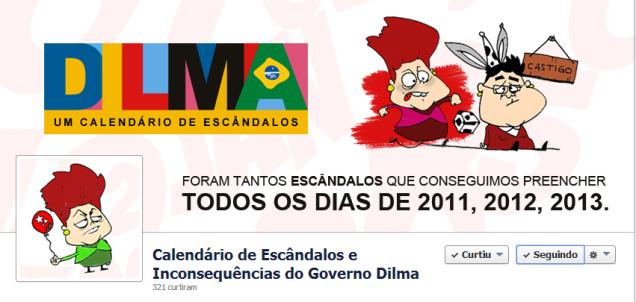 Foi criada também uma fan page no Facebook (@escandalosdogovernodilma)