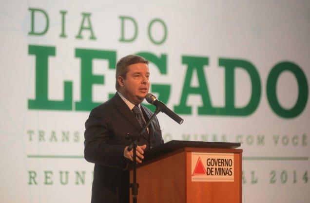 Antonio Anastasia durante a última reunião gerencial, no dia 28 de março, quando apresentou a Agenda do Legado. Foto Omar Freire/Imprensa MG