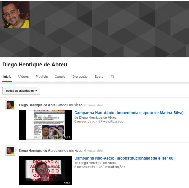 Imagem do canal do YouTube mantido pelo professor