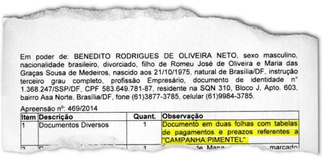 """""""CAMPANHA PIMENTEL"""": o termo de busca e apreensão da PF lista documentos que ligam Bené a um possível caixa paralelo na campanha de Fernando Pimentel ao governo de Minas Gerais(VEJA.com/VEJA)"""
