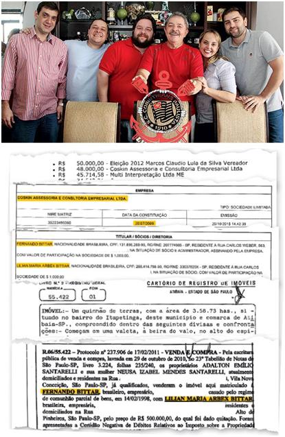 Lula e família. Uma de suas empresas transferiu R$ 48 mil a Fernando Bittar, sócio de um dos filhos do petista e dono de um sítio atribuído ao ex-presidente